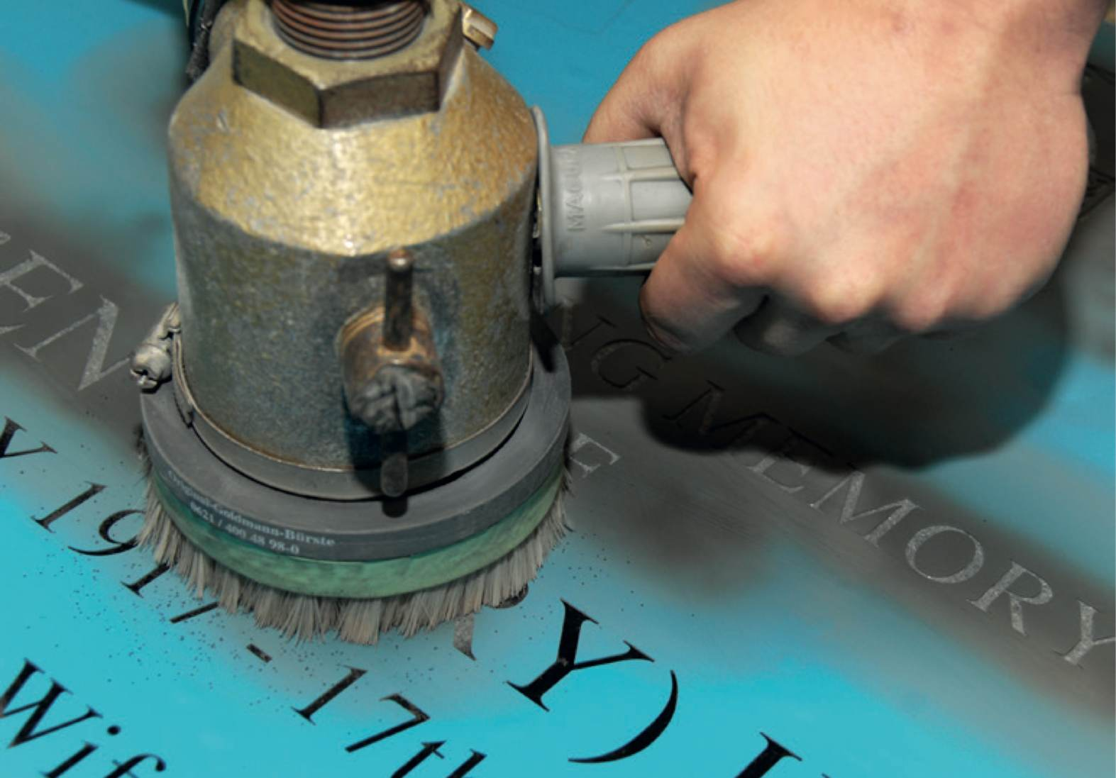 headstone letter cutting